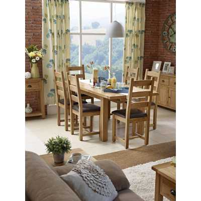 Modern Oak Extending Dining Set 1 Table with 6 Chairs Padded Seating
