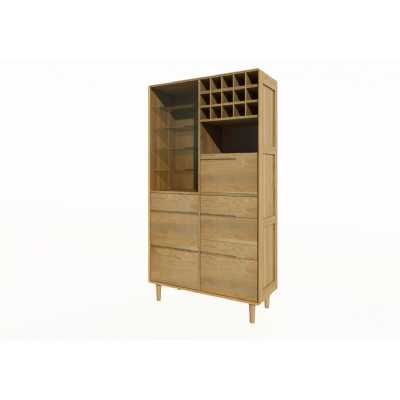Scandic Oak Large Glazed Drinks Serving Cabinet with Drawers