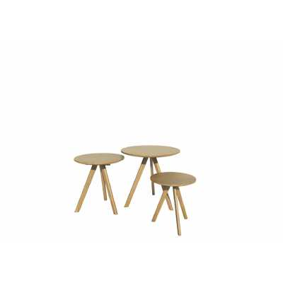 Nordic Scandic Oak Round Nest of 3 Tables with 3 legs Occasional Tables