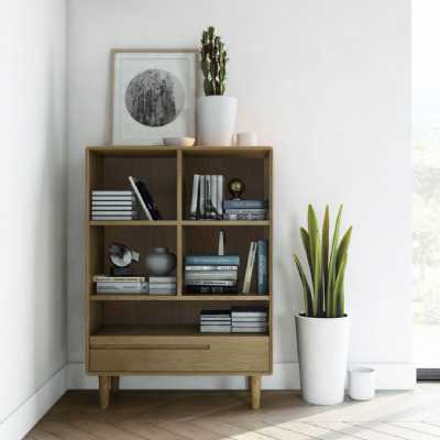 Nordic Scandic Oak Small Open Bookcase Display Shelving Unit with 1 Drawer on legs