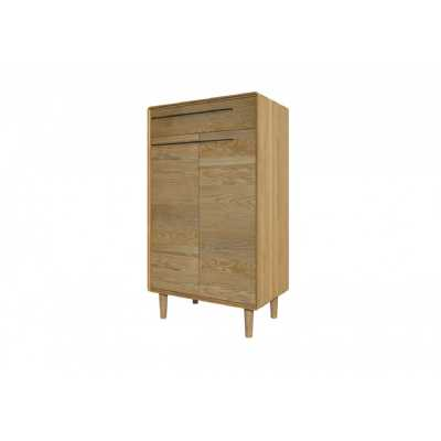 Nordic Scandic Oak Shoe Storage Cabinet 2 Doors with 1 Drawer on Legs
