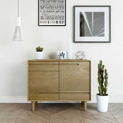 Nordic Scandic Oak Small Sideboard Cupboard 2 Doors 2 Drawers On Legs