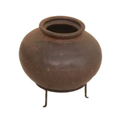 Upcycled Antique Round Clay Pot On Stand Home Decor Piece in Rustic Brown Finish 30cm Diameter