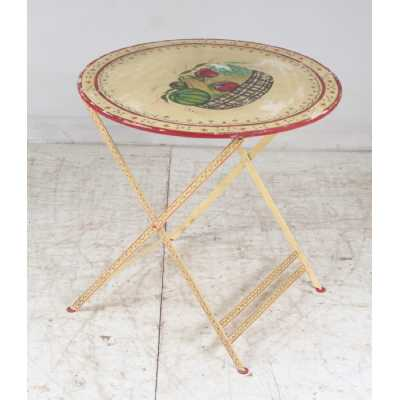 Fancy Upcycled Originals Vintage Iron Fruit Basket Painted Round Side Occasional Table 78cm Diameter
