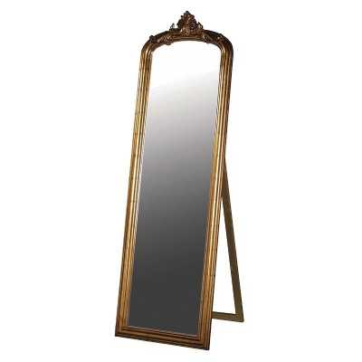Large Antique Gold Finished Floor Standing Cheval Dressing Mirror