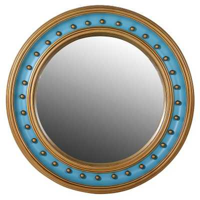 Decorative Large Round Turquoise Convex Wall Mirror with Gold Rivets