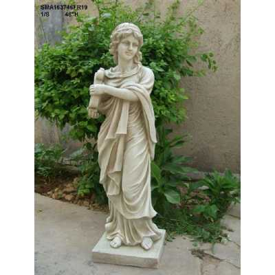 Stone Effect Garden Ornament Maiden with Lute Outdoor Statue