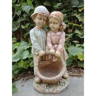 Boy And Girl Together with Basket Garden Ornament