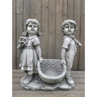 Stone Effect Boy and Girl Carrying Basket Garden Figurine