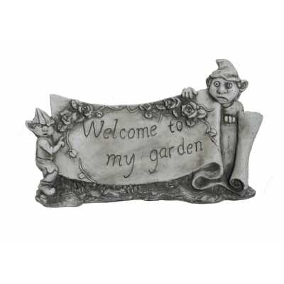 Welcome to my Garden Gnome Plaque Stone Effect Sign
