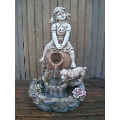 Nostalgic Girl And Dog Water Feature with Pump