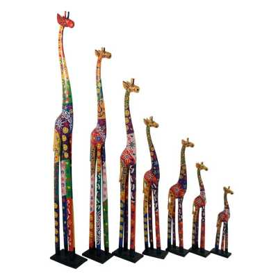 Set Of 7 Gorgeous Multi Colour Bohemian Style Carved Giraffes With Black Wooden Base