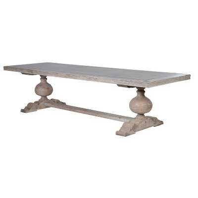 Imperial Distressed Rectangular Wooden Dining Table With Fleur De Lei