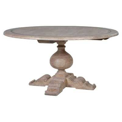 Imperial Greywash Round Heavy Turned Solid Wood Chunky Dining Table