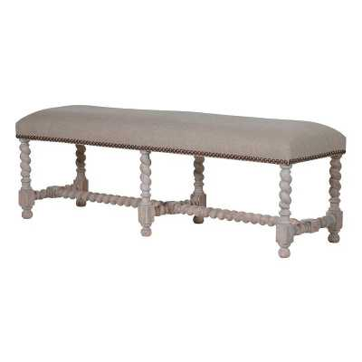 Imperial Shabby Chic Distressed Rope Leg Linen Upholstered Bench