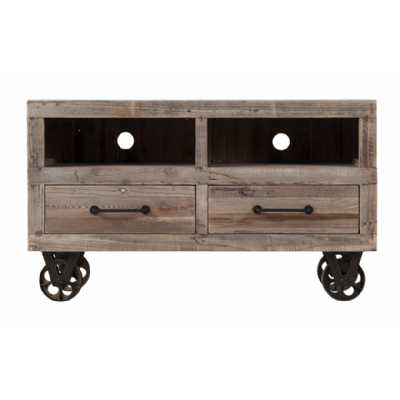 Cal Stadium Reclaimed Wood TV Unit 2 Drawer 2 Shelves And Wheels