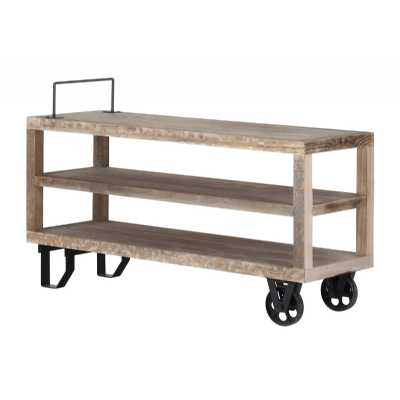 Cal Stadium Reclaimed Wood And Metal TV Unit Table With Wheels And Handle Detail
