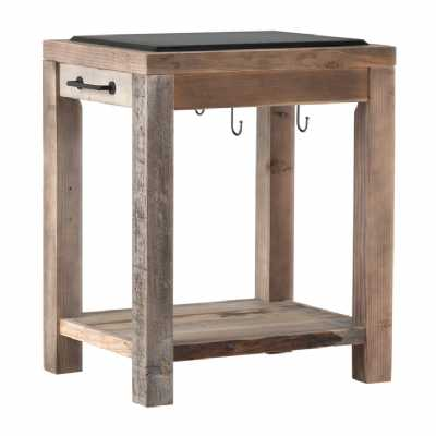 Cal Stadium Reclaimed Wood Work Bench With Granite Top And Hooks