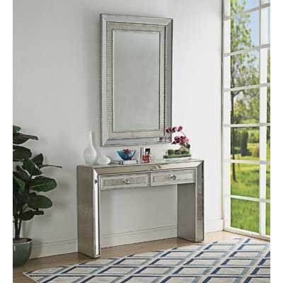 Sofia Mock Croc Mirrored 2 Drawer Console Table and Wall Mirror Set