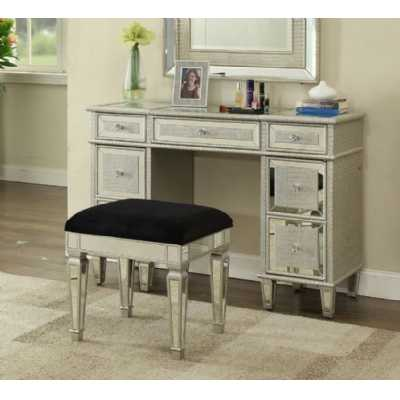 Sofia French Style Mirrored Glass 7 Drawer Dressing Table And Stool Set