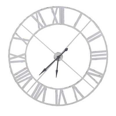 Large White Painted Industrial Round Metal Shabby Chic Wall Clock