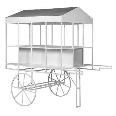 Large White Metal Cart