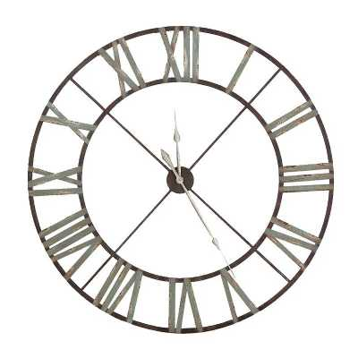 Large Aged Round Iron Metal Wall Clock Vintage Rustic Urban Chic Style