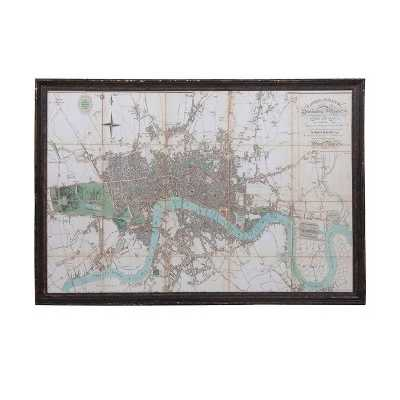 Large Antique Style Black Distressed Framed River Thames Wall Map