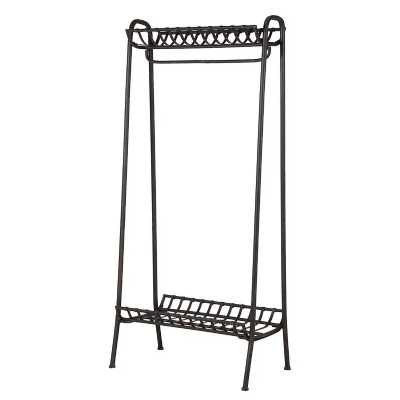 Black Metal Coat Rail and Shoe Storage Rack