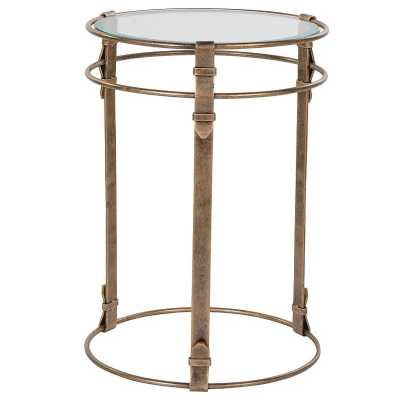 Modern Gold Strap Base Round End Table with Round Glass Top