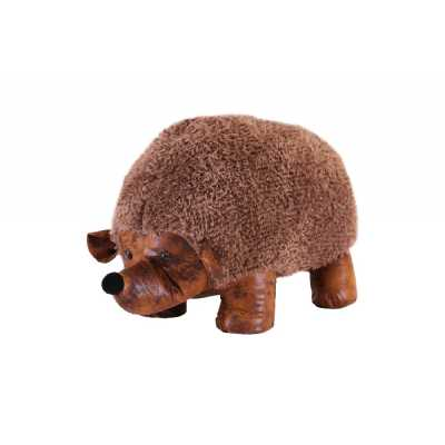 Large Brown Fabric and Faux Leather Hedgehog Animal Footstool