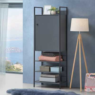Storage Cabinet With 1 Door And 3 Shelves