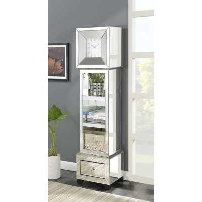 Mirrored Glass Display Grandfather Clock with Open Shelves and Drawer