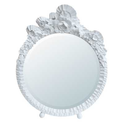 Barbola Floral White Clay Paint Round Decorative Table Or Wall Mirror
