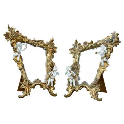 Gold Gilt Leaf Beveled Table Mirror With Cherubs Pair