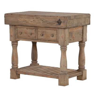 Rustic Colonial Reclaimed Pine Kitchen Butchers Block with Drawers