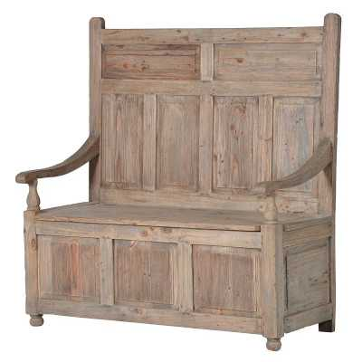 Colonial Reclaimed Pine Panelled Church Style Hallway Storage Bench