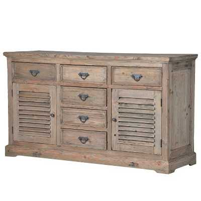 Colonial Reclaimed Pine Louvred 6 Drawer Sideboard
