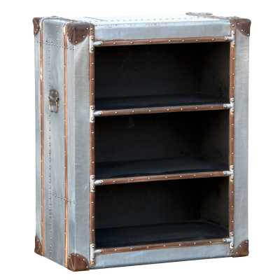 Industrial Aluminium Low Silver Trunk Style Bookcase Display