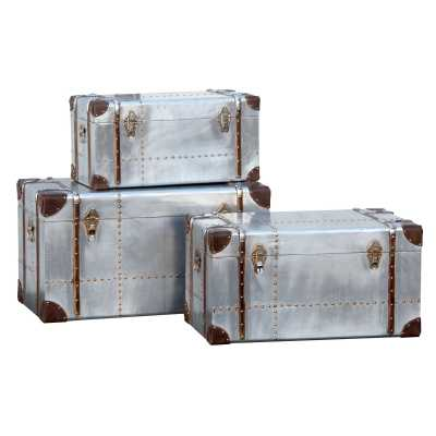 London Industrial Aluminium Set of 3 Silver Storage Trunks With Straps