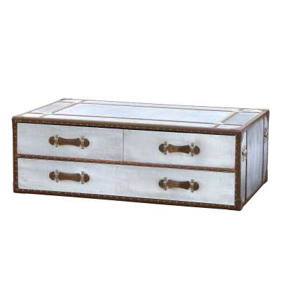 IN STOCK FREE DELIVERY Industrial Aluminium Silver Metal Two Drawer Trunk  Coffee Table
