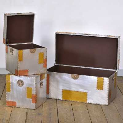 London Urban Chic Industrial Aluminium and Copper Set of 3 Trunks