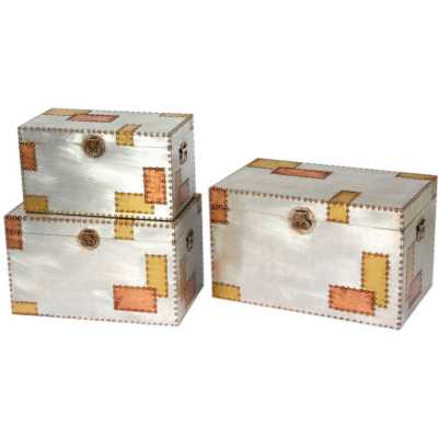 London Set of 3 Industrial Aluminium and Copper Storage Trunks