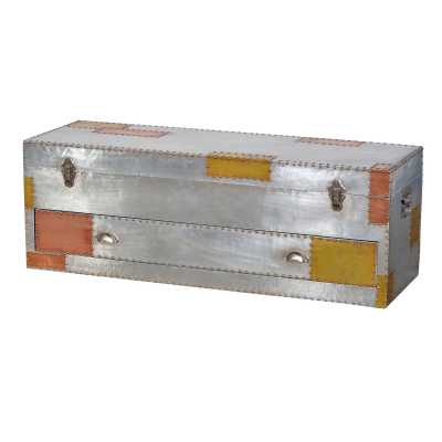 London Industrial Aluminium and Copper Storage Trunk Chest with Drawer