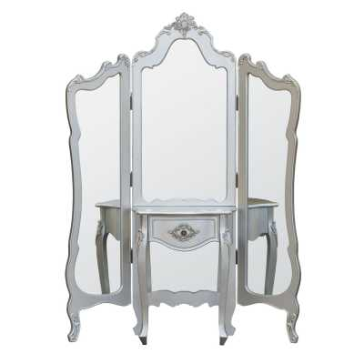 Silver Dressing 3 Panel Mirror Screen