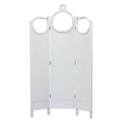 Antique White 3 Panel Rattan Screen