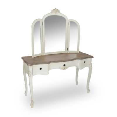 Appleby Appleby Wood Top Dressing Table With Mirror