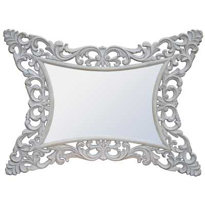 Rococo Style Boudoir Provence Antique White Decorative Wall Mirror