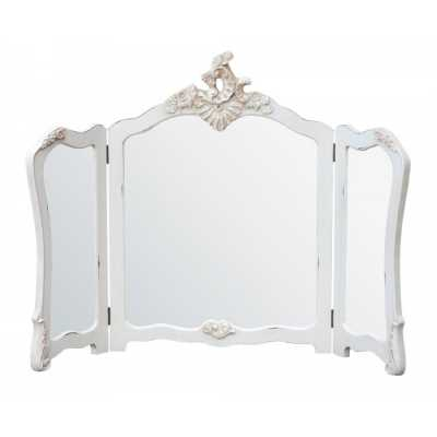 Shabby Chic Antique White Painted Carved Dressing Table Trifold Mirror