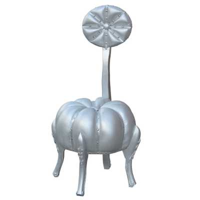 Silver Pumpkin Stool With Back Rest